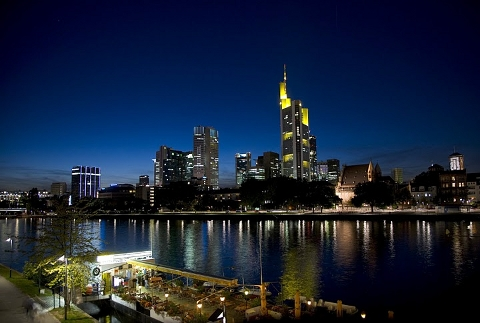 Frankfurt across the river at night