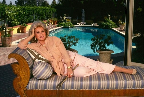Zsa Zsa Gabor by her pool