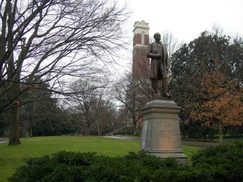 Cornelius Vanderbilt with Kirkland Hall in the background