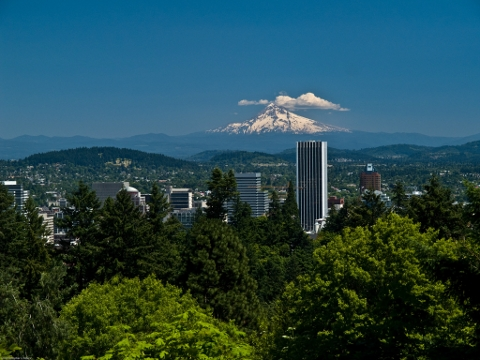 Mt. Hood and Portland skyline