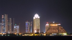 Qatar capital Doha at night