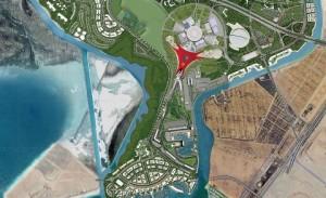 Aerial view of Benoy's Ferrari World Abu Dhabi, UAE