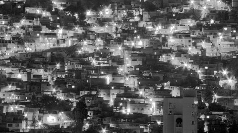 Brazil favela at night