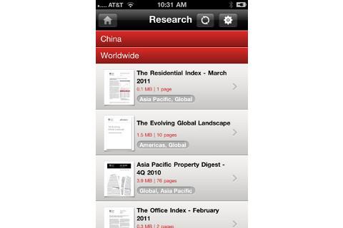 Jones Lang LaSalle app research screen