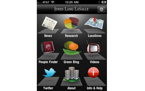 JLL iPhone app home screen
