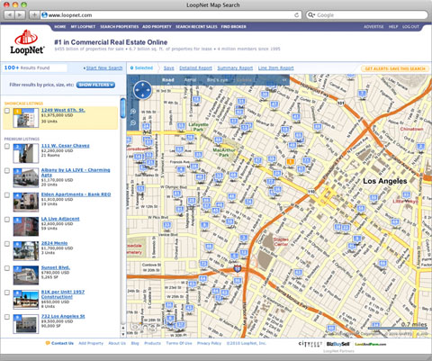 LoopNet allows users to search for listed commercial properties via a map