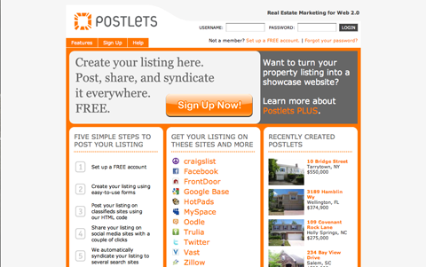 The Postlets app lets users upload ads for property listings to social media like Facebook, Twitter and Zillow