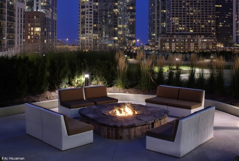 The fire pit at Aqua Tower