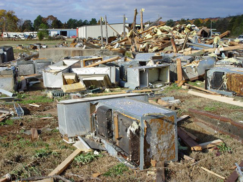 Extensive damage caused by tornadoes