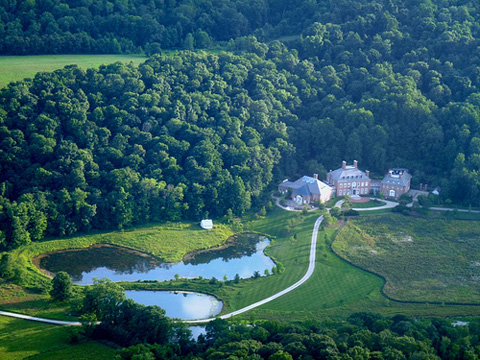Aerial view Longaberger mansion