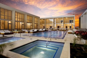 Luxury pool deck at the Marquis Residences