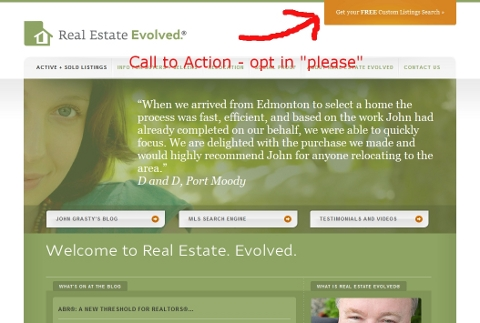 Call to action at Real Estate Evolved