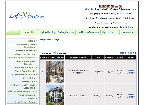 Lofty Villas listing pages