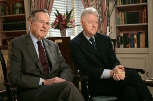 George H. W. Bush and Bill Clinton