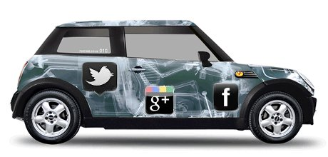 Foxtons Mini Cooper with social logos