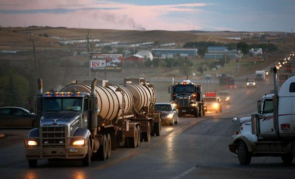 Tankers at Bakken Oil Fields - courtesy Bakken Oil Facebook