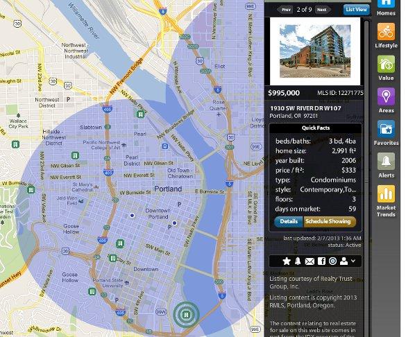 Property search radar