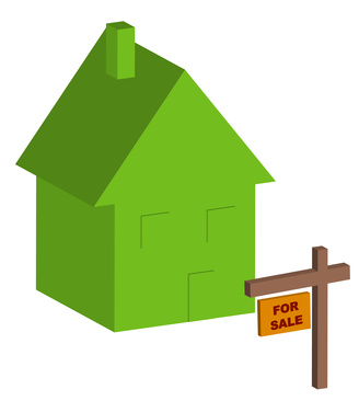 3d house with for sale sign out front