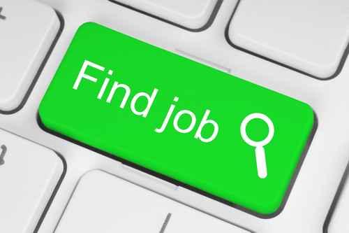 Green find job button on white keyboard.