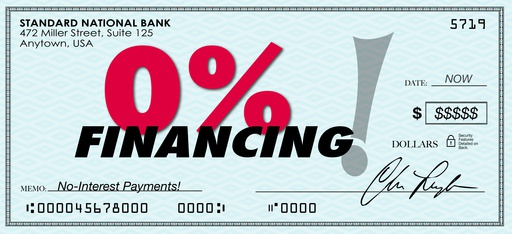 0% zero percent financing words on a paper check to illustrate or advertise low or no interest loan and payment on a loan or mortgage