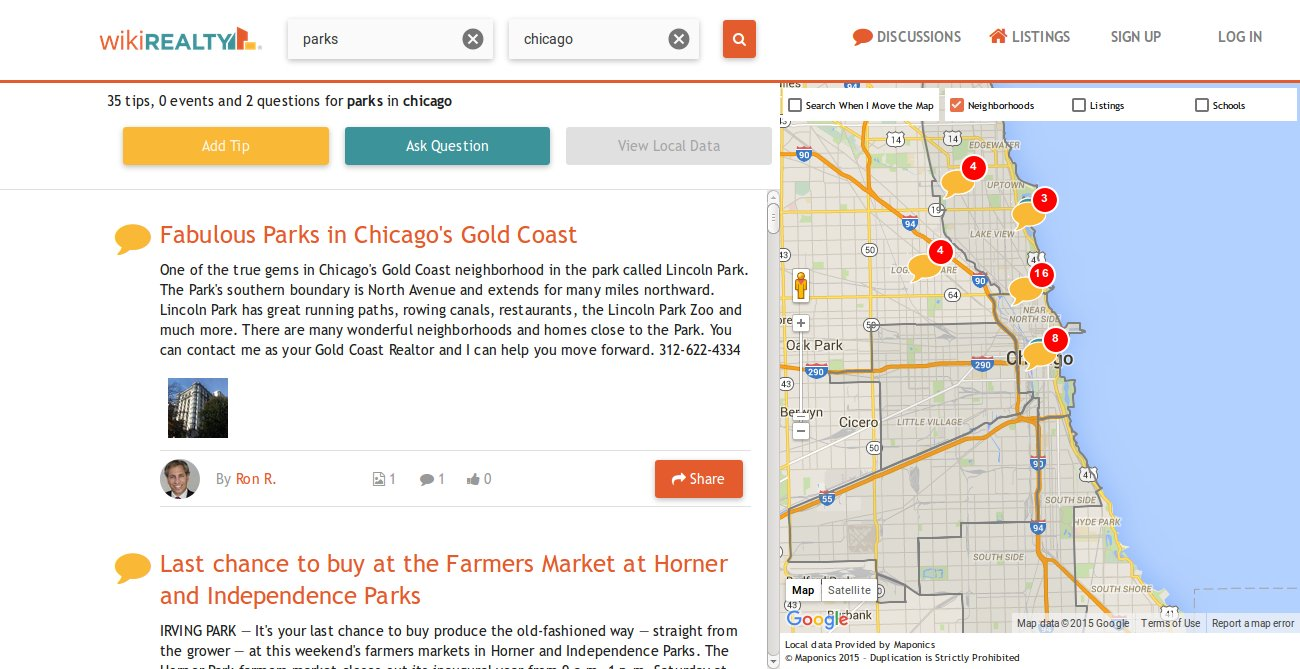 A search for parks in Chicago throws up dozens of local recommendations