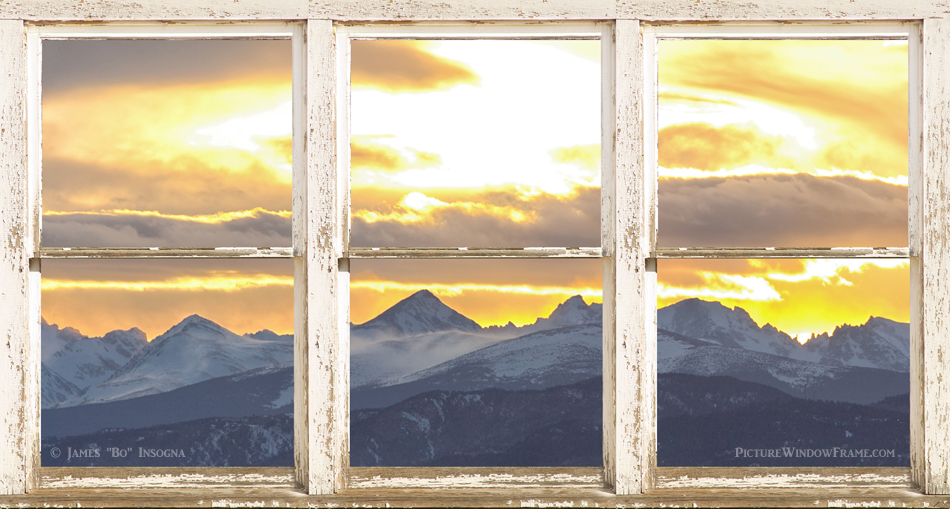 Scenic panorama landscape window view of the Rocky Mountains front range with a golden sunset sky above Boulder County Colorado,  through a white rustic distressed paint pealing farm house picture window frame. Create a fine art photography optical illusion of a beautiful Colorado view through a rustic country western farm house picture window. Bring nature indoors, now you can add a window with a view to any room in your home or office with our picture window frame (tn) nature landscape art prints. The IMAGE is the FRAME, how cool is that!  PLEASE NOTE : The Window Frame is part of the composite image. This image looks best and we recommend ordering as an acrylic print, metal print or canvas wrap with white sides.  This is an incredible way to decorate your window-less office walls, home walls, cafe, restaurant, boardroom, waiting room, trade booth or almost any commercial space. Museum quality art with fast, secure, world wide shipping to your door.  Colorado fine art nature landscape window with a view photography images by James Bo Insogna (C) - All Rights Reserved.  Please feel Free to share our links, with Family or Friends who may also enjoy them.  If you like my Art Gallery, please spread the word and press the Pinterest, FB, Google+, Twitter or SU Buttons! Thank you!  *PLEASE NOTE, WATERMARKS WILL NOT BE ON THE PURCHASE PRINTS
