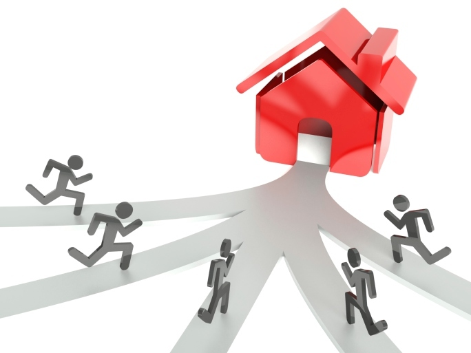 Demand for houses on property market, business metaphor