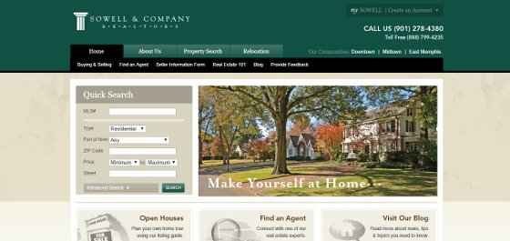 Sowell & Company Realtors' website leaves a good first impression