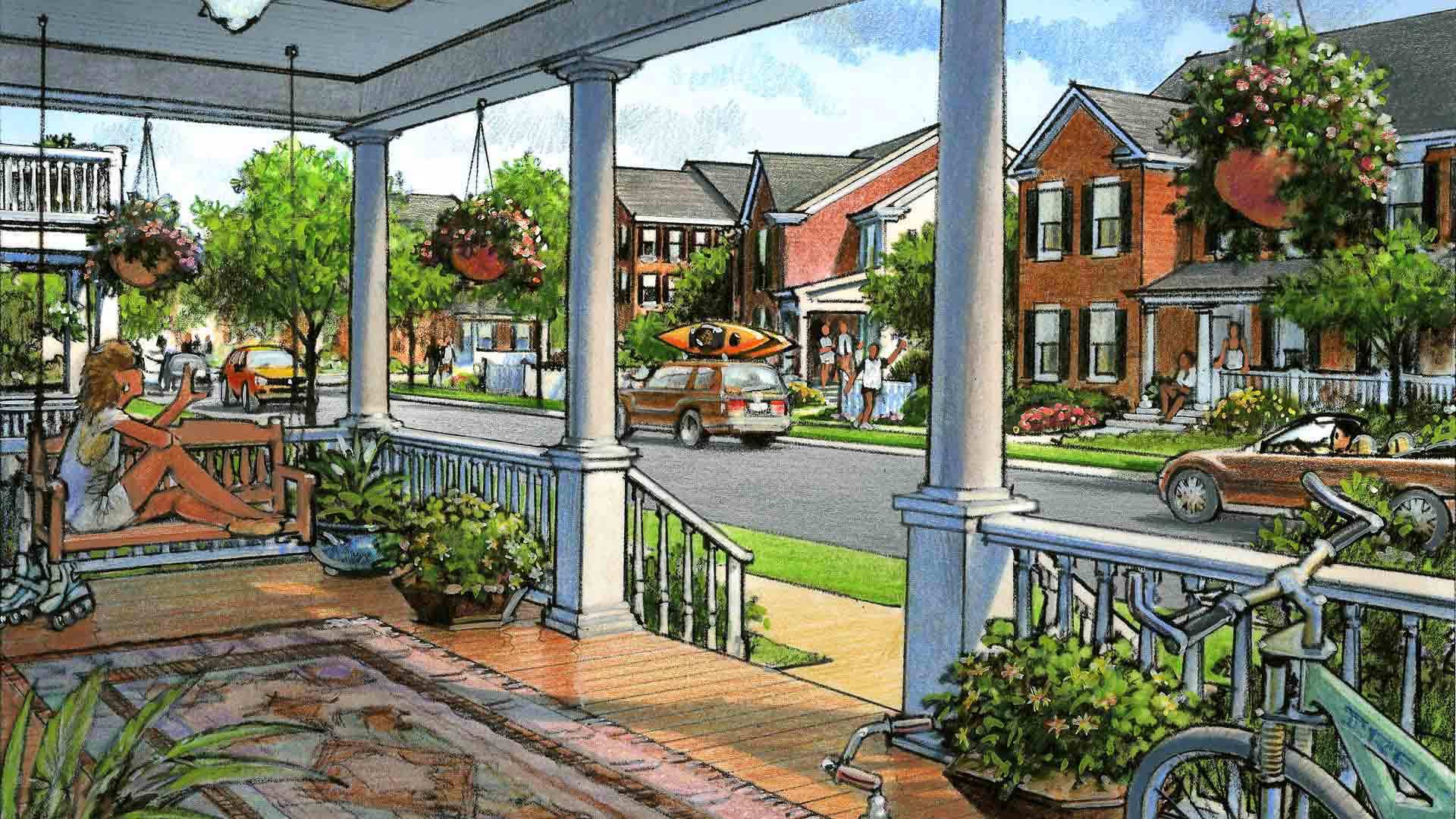 Brunswick Crossing, Porch, rendering, stoop