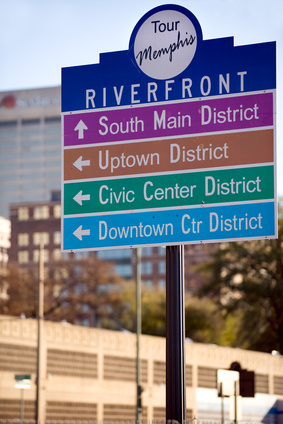 Directional signs for touring downtown Memphis, Tennessee