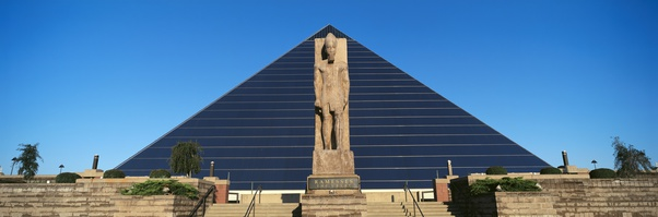 Panoramic view of statue of Ramses at entrance of Pyramid Sports Arena in Memphis, TN
