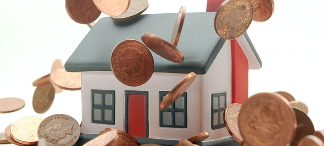 BXTMNN HOUSE WITH COINS DROPPING OVER IT RE PROPERTY MARKETS HOUSING COST BILLS  PRICES MORTGAGES FIRST TIME BUYERS ETC UK