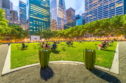 Bryant Park summer lights in Manhattan - New York City.