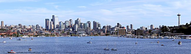 View of Seattle over Lake Union.