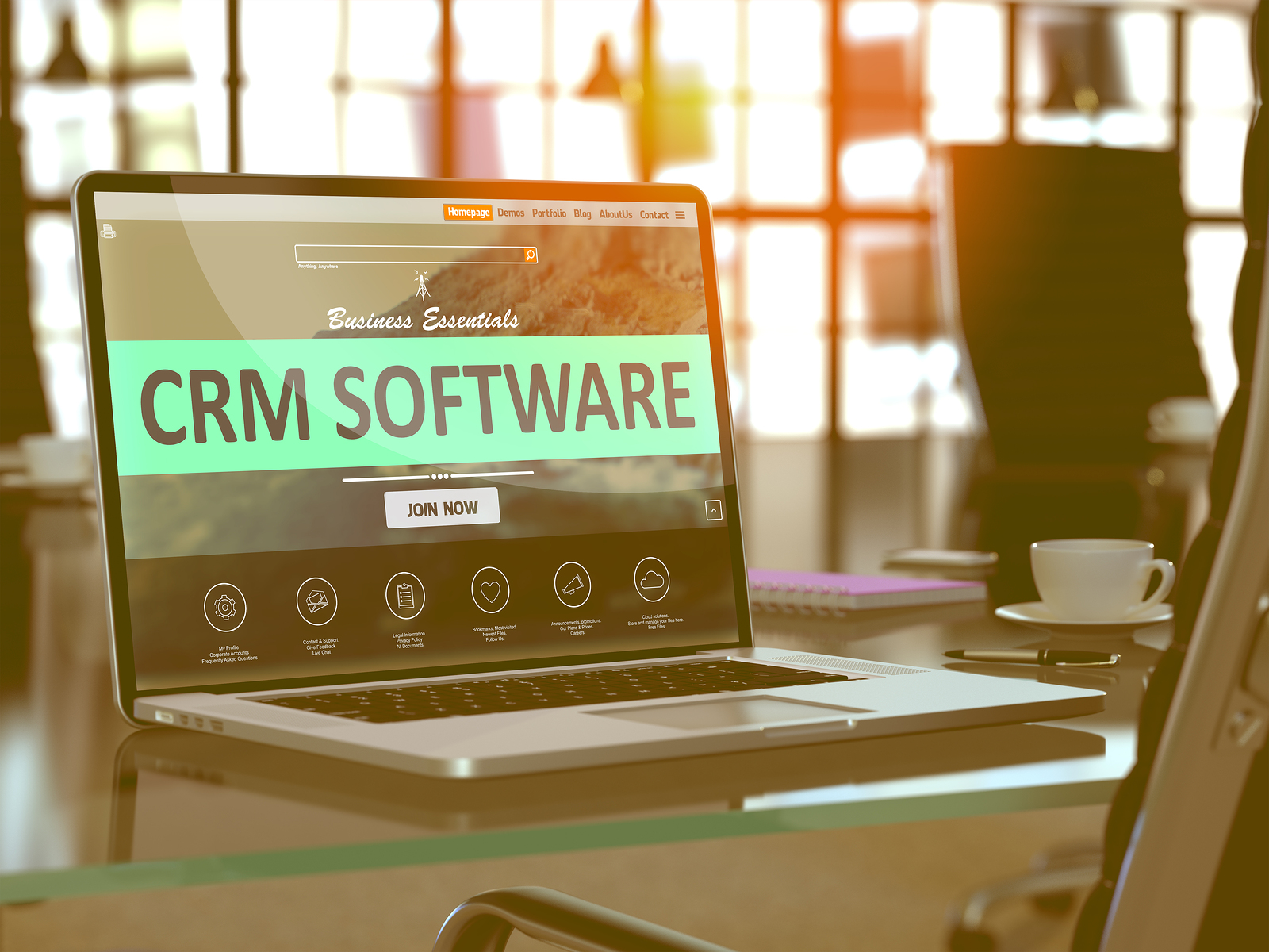 CRM - Customer Relationship Management - Software Concept. Closeup Landing Page on Laptop Screen  on background of Comfortable Working Place in Modern Office. Blurred, Toned Image. 3D Render.