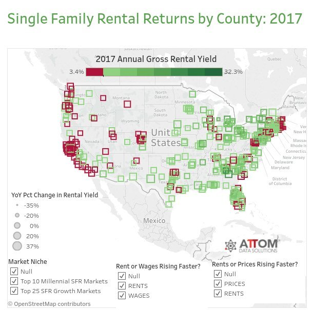 These Counties Are Reaping The Biggest Rewards For Real Estate - Us rental yield map