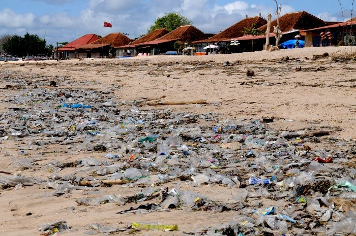 A garbage choked beach on Bali