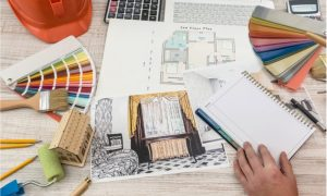 designer paints a modern sketch of the apartment