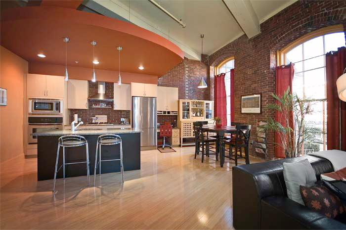 Lowell loft with kitchen and living room