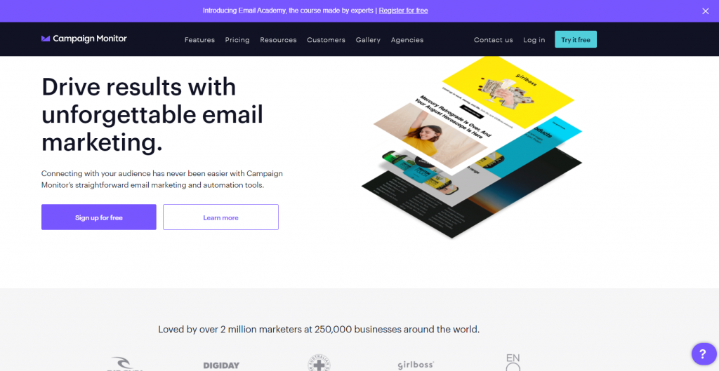 Campaign Monitor email marketing screenshot.