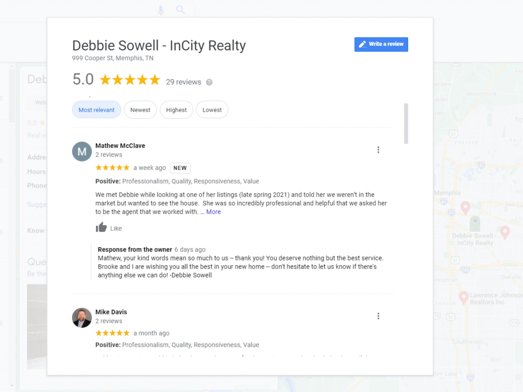 Example of responding to a positive Google Review.