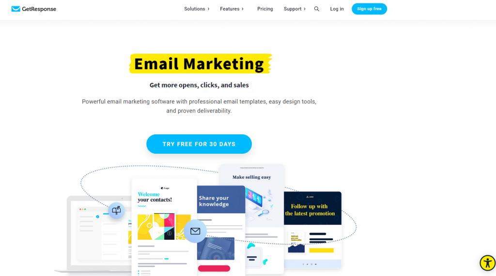 GetResponse email marketing screenshot.