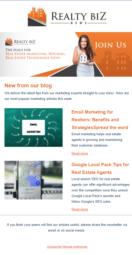 example of an effective real estate newsletter.